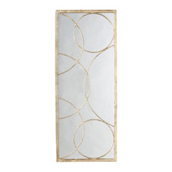 Nikita Gold Iron Mirror - Reflected light, suave shape, and chic metallic texture combine in the Nikita Gold Iron Mirror, a rectangular panel of simple mirror behind a delicate grillwork of intersecting rings, a beautiful vintage design reminiscent of bubbles or abstract moons.  The iron of the frame and the interlocking circles is finished with a rich but understated antiqued gold leaf.  Place this classic mirrored panel on any wall for sleek style and soft indirect light.