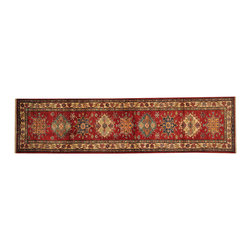 1800-Get-A-Rug - Red Tribal Super Kazak Oriental Rug Runner 100% Wool Hand Knotted Sh16547 - Our Tribal & Geometric hand knotted rug collection, consists of classic rugs woven with geometric patterns based on traditional tribal motifs. You will find Kazak rugs and flat-woven Kilims with centuries-old classic Turkish, Persian, Caucasian and Armenian patterns. The collection also includes the antique, finely-woven Serapi Heriz, the Mamluk Afghan, and the traditional village Persian rug.