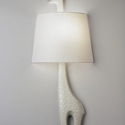 """Robert Abbey - Jonathan Adler Left Facing Giraffe 1 Light Wall Sconce - Features: -Wall sconce. -Ceramic Sconce collection. -1 Light. -Ceramic with white glaze finish. -Cord color: Black. -White linen fabric shade with rolled edge hem. -Accommodates: 1 x 60W incandescent bulb (not included). Dimensions: -Cord length: 6"""". -Shade: 9.5"""" H x 9.5"""" Top/12.5"""" bottom. -Overall dimensions: 25.75"""" H x 12.5"""" W x 4"""" D."""
