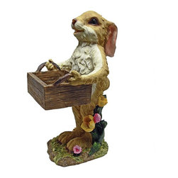"EttansPalace - Rabbit with Box Birdfeeder Statue - Our cute-n-crafty garden bunny statue will help finish your garden chores with the use of his faux wood birdfeeder box! This -exclusive, fully hand-painted rabbit birdfeeder figurine ""hops to it"" in quality designer resin, ready to add a quirky quality as seasonal decor or for year-round bird feeding fun. Another friendly garden animal statue from Toscano!"