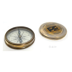 """Old Modern Handicrafts - Old Modern Handicraft Beetles Compass w leather case - This is a fully functional Poem Compass. This poem compass features a beautiful Beatles cover from 1964. Inside is the poem """"The Road Not Taken"""" written by famous poet Robert Frost. It is made of high quality brass with each component is crafted using the finest craftsmanship.?��_It comes with a detachable metal lid and a leather case. Available in antique brass finish. It is a great addition to any nautical collection. The item dimensions are: L: 3 inches, W: 3 inches, H: 0.8 inches."""