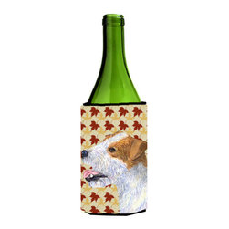 Caroline's Treasures - Jack Russell Terrier Fall Leaves Portrait Wine Bottle Koozie Hugger - Jack Russell Terrier Fall Leaves Portrait Wine Bottle Koozie Hugger Fits 750 ml. wine or other beverage bottles. Fits 24 oz. cans or pint bottles. Great collapsible koozie for large cans of beer, Energy Drinks or large Iced Tea beverages. Great to keep track of your beverage and add a bit of flair to a gathering. Wash the hugger in your washing machine. Design will not come off.
