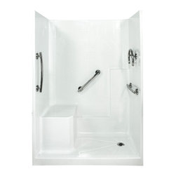 "Ella's Bubbles - Ella Freedom Low Threshold Shower System 60""W x 33""D x 77""H, Left Hand Seat - The Ella Freedom, (3-Piece) 60 in. x 32 in. Low Threshold Shower is manufactured using premium marine grade gel coat fiberglass which creates a smooth, beautiful, long lasting surface with anti-slip textured shower base floor. Ella Freedom Low Threshold Shower walls are reinforced with wood providing flexibility for the grab bar installation at needed height for any size bather. The integral self-locking aluminum Pin and Slot System allows the shower walls and the pre-leveled shower base to be conveniently installed from the front. Premium quality material, no need for drywall or extra studs for fixture support, 30 Year Limited Lifetime Warranty (on shower panels) and ease of installation make Ella Low Threshold Shower the best option in the industry for your bathtub replacement or modification needs."