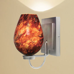 Bruck Lighting Systems - Bolero Matte Chrome One-Light Diamond Wall Sconce with Autumn Leaf Glass - -Free-blown glass that receives its shape directly out of the furnace. This Artisan process, executed by only Master Glass Blowers, guarantees each piece is one of a kind.  -May be mounted as an up-light or a down-light.  -75W dimmable electronic transformer is included on the mounting plate.  -120V AC 50/60Hz input . 11.7V AC output.  -May be mounted as a square or at a 45 degree angle to create a diamond shape. -The stunning glass from Bruck Lighting is hand blown in various locations across the globe, including Italy, Austria, Germany and the United States. �The pattern and color variations make each piece unique. Bruck Lighting Systems - 101337MC