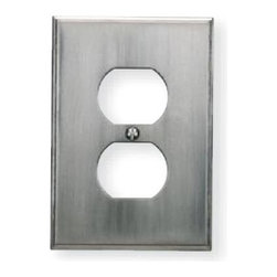 Atlas - Sutton Place Outlet Plate in Brushed Nickel - Manufacturer SKU: SUTPOP-BRN. Projection: 0.25 in.. Made from metal. 4.87 in. L x 3.12 in. W