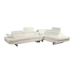 FOA - Vetovo Sectional Sofa in White Bonded Leather with Bluetooth Console - This Contemporary Sectional is upholstered in Black Bonded Leather.