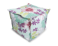 Comfort Research - Bean Bag Ottoman in Multi Scribble Floral - Set of 2 - Set of 2. Covered in durable polyester fabric & filled with polystyrene bean. Filled with ultimaX beans. Double-stitched and double-locking zippers. Warranty: 30 days. No assembly required. 20 in. L x 20 in. W x 17 in. H (4 lbs.)This Cube Ottoman can be used as a footrest, an extra seat or a beautiful accent. This pouf is made with French seams for that beautiful finishing touch.