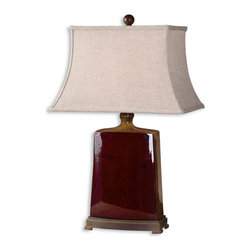 Uttermost - Baalon Burgundy Rustic Table Lamp - The  gorgeous  Baalon  rustic  table  lamp  has  a  porcelain  base  that  is  two  toned.  The  front  and  back  has  a  deep  burgundy  glaze  while  the  sides  and  top  has  a  rustic,  burnt  orange  glaze  with  chocolate  bronze  details.  The  rectangle  shade  is  an  ivory  linen  textile.  This  classy  table  lamp  would  be  the  perfect  addition  to  any  home  or  office.  To  see  more  of  the  lamps  that  we  offer,  click  here.