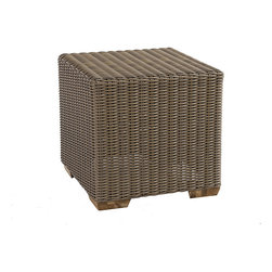Ballard Designs - Sutton Cube Ottoman - Use as a side table or seat for extra guests. Tapered foot made of Teak. Coordinates with Sutton Dining Collection & Sutton Lounge Collection. Fully assembled. Replacement cushions available. A relaxed blend of warm textures and sophisticated style, our Sutton Cube Ottoman takes weekend comfort very seriously. Strong, rustproof aluminum frame is wrapped in all-weather rattan that resists fading, mildew and moisture. Each strand has multiple shades of warm tan, gray and mocha to create the warm Weathered Driftwood finish.Sutton Cube Ottoman features:. . . . .
