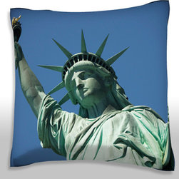 Custom Photo Factory - The Statue of Liberty, New York City, Polyester Velour Throw Pillow - The statue of liberty, , New York city,  18 x 18 Inches  Made in Los Angeles, CA, Set includes: One (1) pillow. Pattern: Full color dye sublimation art print. Cover closure: Concealed zipper. Cover materials: 100-percent polyester velour. Fill materials: Non-allergenic 100-percent polyester. Pillow shape: Square. Dimensions: 18.45 inches wide x 18.45 inches long. Care instructions: Machine washable