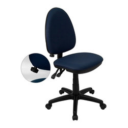 Flash Furniture - Flash Furniture Mid-Back Task Chair in Navy Blue - Flash Furniture - Office Chairs - WLA654MGNVYGG - Articulating the sophistication of European styling, along with the functionality of a multi-positional chair, this computer task chair from Flash Furniture is sure to please. Employing a unique adjustable lumbar support system, customizable to the specifications of almost anyone, the user can be assured of a comfortable experience not usually found in most economic task chairs. This comfort level is attained simply by supporting the natural curvature of the user's spine near the small of the back - right at the point where most people experience lower back pain. Featuring, in addition to the adjustable lumbar support, a standard seat height adjustment, and asynchronous locking back angle adjustment mechanism, we are certain that this task chair will be the perfect fit. [WL-A654MG-NVY-GG]