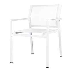 Mama Green - Allux Stacking Chair, White - The Allux Stacking Chair is a contract grade stacking dining chair. It comes in any aluminum/sling combination you can come up with. Customization of this chair is limited to stock aluminum and sling color options.