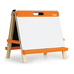P'kolino - Tabletop Art Easel, Orange - Give your budding artists a hand. This tabletop easel features a chalkboard on one side and a whiteboard on the other, and comes packaged with paper and chalk so your Van Goghs are ready to go. It's solidly made, comes in bright colors and folds flat for easy storage and portability.