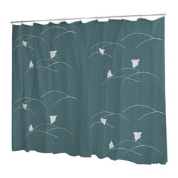 Uneekee - Uneekee Plovers Shower Curtain - Your shower will start singing to you and thanking you for such a glorious burst of design as you start your day!  Full printing on the front and white on the back.  Buttonhole openings for shower rings.