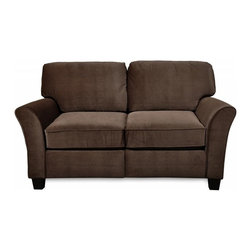 SoFab - Sofab Muse Chocolate Love Seat - The Muse chocolate love seat is a great addition to any room.  The Muse collection features transitional styling, flared arms and comfortable seating.  The Sofab construction makes this love seat durable and easy to get in to hard to reach places.