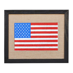 Fiber and Water - Stars & Stripes Art - Fly the flag on your wall and flaunt your American pride in an offbeat way. This impressive print, made in the U.S., features rustic burlap and a distressed wooden frame to simply and stylishly state your patriotism.