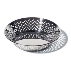 Alessi - Alessi Round Open-Work Basket - Give your kitchen a modern edge with this round open-work basket. With this stainless steel bowl on your counter or table, you'll be displaying style — and food. Designed by Ettore Sottsass, the refined laser-cut pierced rim also showcases the intricate details he had in mind.