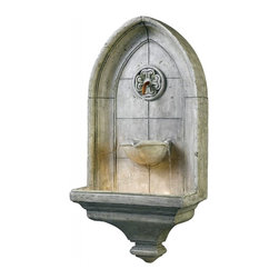 Kenroy Home - Kenroy Home Canterbury Wall Fountain Cement Finish - 53265CT - A piece of old England inspires this Gothic styled detail modeled after the famous cathedral in Kent. Water flows from a Copper spigot while three water streams fall to the basin.