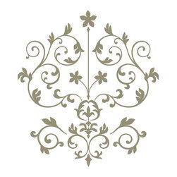 "WallPops - Nouveau Damask Wall Art Decal Kit - Damasks are elegant designs reminiscent of French and Italian Renaissance style. The WallPops Nouveau Damask wall art kit is a modern damask with a silver metallic finish. Bring a sophisticated detail to your walls with this beautiful wall decal kit. Nouveau Damask Kits are printed on two 17 1/4"" x 39"" sheets, and contains 14 pieces. Nouveau Damask Kits are repositionable and totally removable."