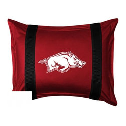 Sports Coverage - Arkansas Razorbacks Sham - Sidelines Design - Show your team spirit with this officially licensed 25 x 31 Arkansas Razorbacks sham. There is a 2 flanged edge that decorates all four sides of each  Arkansas Razorbacks sham. Made of 100% polyester jersey mesh, just like the players wear, with screen printed logo of Arkansas Razorbacks in the center and sidelines on both sides of the logo in team colors. 3 Envelope closure in back. Fits standard pillow.