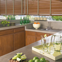 Parkland™ Genuine Real Wood Blinds - Hunter Douglas® Window Treatments - These beautiful kitchen windows were outfitted with Parkland™ wood blinds are crafted from the finest American Hardwoods.  These real wood blinds offer a traditional, cozy feel to your home. The perfect window treatment for any space.