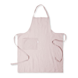 The Linen Works - Cassis Rose Linen Apron - Get ready to bake. Pre-washed for extra softness, these aprons are ultra- light to wear and have wrap around ties for perfect comfort.  Available in Cassis Rose, Toulon Dove Grey, Mazan Taupe, Parisian Blue and Toulon Stripe.