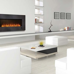 Napoleon 48'' x 23'' Linear Slimline Series EFL48H Electric Fireplace - Hang a Napoleon® Slimline Series EFL48H Electric Fireplace just like a flat screen TV with the included mounting bracket for an instant transformation. Plug it in and change the ambiance of an entire room. Impress friends and family with the luxury of a fireplace without monopolizing all of your space. The minimalist black glass front matches any décor and the shining crystal ember bed adds some extra sparkle.