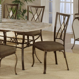 Hillsdale Furniture - Hillsdale Brookside Diamond Fossil Back Dining Chair - Set of 2 - Brown Powder C - Shop for Dining Chairs from Hayneedle.com! Add unique and stylish appeal to your dining area with this Brookside Set of 2 Diamond Fossil Back Brown Powder Coat Dining Chairs. These chairs feature a classic stance and graceful modern details for a transitional look that suits many decors. Each chair is crafted from solid steel for durability and strength and features a brown powder-coat for added warmth and depth. The back of each chair features delicately scrolled metalwork and a lustrous diamond fossilstone centerpiece. Finally the light brown seat upholstery is 100 percent terelyne microsuede making it both ultra-soft and easy to care for and clean. Measures 19L x 16W x 39.5H inches About Hillsdale FurnitureLocated in Louisville Ky. Hillsdale Furniture is a leader in top-quality affordable bedroom furniture. Since 1994 Hillsdale has combined the talents of nationally recognized designers and globally accredited factories to bring you furniture styling and design from around the globe. Hillsdale combines the best in finishes materials and designs to bring both beauty and value with every piece. The combination of top-quality metal wood stone and leather has given Hillsdale the reputation for leading-edge styling and concepts.