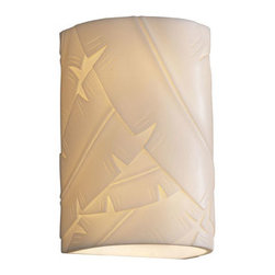Justice Design Group - Porcelina Wall Sconce Small CylinderTwo-Light Faux Porcelain Open Top and Bottom - - Shade Detail - Banana Leaf  - Shade Material - Faux Porcelain Resin Justice Design Group - PNA0945BANL
