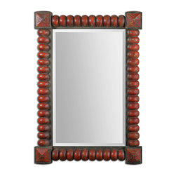Clancy Rust Red Mirror - Heavily Distressed Carved Wood With A Rust Red Finish Accented With Rust Bronze Details.