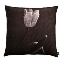 By Nord Copenhagen - Tulip Decorative Pillow - This pillow puts a sophisticated spin on the usually so colorful tulip. Printed as a digital photo print on a cushion in the recognized cotton velvet quality from Danish firm By Nord. Imported from Denmark.
