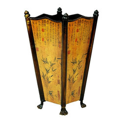 Oriental Unlimted - Hand Painted Accent Umbrella Stand - Delicately hand painted metal rendition of a Bamboo umbrella stand. 9 in. W x 9 in. D x 17 in. H (4 lbs.)