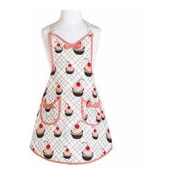Jessie Steele - Jessie Steele Cherry Cupcakes Child's Audrey Apron - Best selling apron - for kids! The Cherry Cupcake Child's Audrey Apron features a cute sweetheart neckline, two waist pockets, bow details at chest and pocket fronts and adjustable ties at waist and neck. Trimmed in pink, this is a must-have for any kitchen helper!