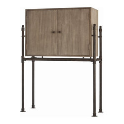 Arteriors - Solomon Cabinet - At cocktail time, mix things up from this handsome cabinet — its rustic iron base is a perfect complement to the wood's antiqued gray oak veneer. Inside, you'll find ample room for bottles and glasses, dramatically illuminated by mirrored glass and recessed lighting.