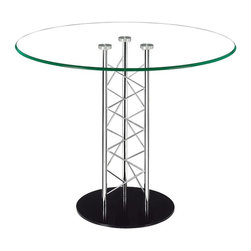 Zuo Modern - Zuo Modern Chardonnay Modern Dining Table X-111121 - Like an architectural tower, the Chardonnay dining table has a clear tempered glass top with a chromed steel tube center and a black solid steel base plate. The intricate diagonal latticing comes in both bar and dining heights.