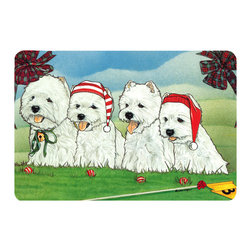 Caroline's Treasures - Westie Kitchen or Bath Mat 20 x 30 - Kitchen or Bath Comfort Floor Mat This mat is 20 inch by 30 inch. Comfort Mat / Carpet / Rug that is Made and Printed in the USA. A foam cushion is attached to the bottom of the mat for comfort when standing. The mat has been permanently dyed for moderate traffic. Durable and fade resistant. The back of the mat is rubber backed to keep the mat from slipping on a smooth floor. Use pressure and water from garden hose or power washer to clean the mat. Vacuuming only with the hard wood floor setting, as to not pull up the knap of the felt. Avoid soap or cleaner that produces suds when cleaning. It will be difficult to get the suds out of the mat.