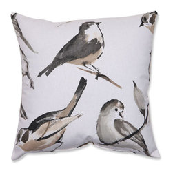 Bird Watcher Charcoal Black Taupe Pillow - - Pillow Perfect Bird Watcher Charcoal 16.5-inch Throw Pillow  - Sewn Seam Closure  - Spot Clean Only  - Finish/Color: Charcoal/Black/Taupe  - Product Width: 16.5  - Product Depth: 16.5  - Product Height: 5  - Product Weight: 1  - Material Textile: Cotton/Poly Blend  - Material Fill: 100% Recycled Virgin Polyester Fill Pillow Perfect - 512365