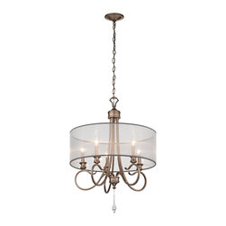 Kichler Lighting - Kichler Lighting 43244BRSG Malina 5-Light Traditional Chandelier - Thin  Petite  Delicate. This 5 light chandelier from the Malina™ collection exudes classic, elegant style. Sweeping, curled arms and crystal detailing elevate this design, while the soft Brushed Silver and Gold finish adds a subtle accent that will effortlessly enhance any space.