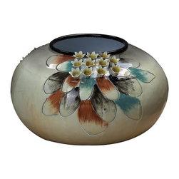 Sterling Industries - Metal Flower Bowl - White - Metal Flower Bowl - White
