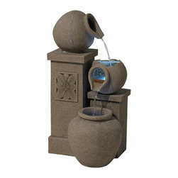 """Lamps Plus - Italian Villa LED Indoor Outdoor Fountain - An indoor/outdoor water fountain is a great way to add a peaceful accent to your decor. This design features three stunning sandstone texture faux stone jugs set atop decorative floral faux stone pedestals. This illuminated fountain glows with warm light from two 3-LED clusters. Polyresin construction is lightweight and easy to place inside or out. No need to worry about discolored chips - both the surface and core are textured sandstone finish. A convenient power cord is included; simply add water plug in and enjoy! Indoor/outdoor illuminated water fountain. Lightweight resin construction. Sandstone finish inside and out. Includes two 3-light LED clusters. 39 1/2"""" high. 19 1/2"""" wide. 21 1/2"""" deep. Includes 6' cord.  Indoor/outdoor illuminated water fountain.  Lightweight resin construction.  Sandstone finish inside and out.  Includes two 3-light LED clusters.  Includes 6' cord.  Includes fountain water pump.  39 1/2"""" high.  19 1/2"""" wide.  21 1/2"""" deep."""