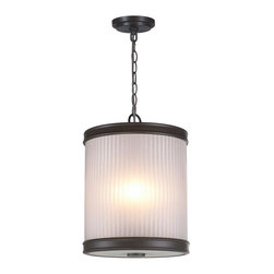 World Imports - Nikolai 3-Light Pendant with Ribbed Glass Shade, Oil Rubbed Bronze - All metal construction with a bronze finish