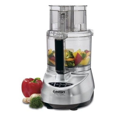 """Cuisinart - Prep Plus 11-Cup Food Processor in Brushed Stainless - The new Prep 11 Plus(tm), boasts a revolutionary motor with alternate speeds for perfect mixing, and features Cuisinart's patent-pending Dough Control technology, which adjusts the speed to automatically ensure proper dough consistency. The Prep 11 Plus(tm) includes a rounded housing for easier cleaning and handling, new safety features, and the Supreme(tm) Wide Mouth Feed Tube. Plus, it's backed by a ten-year warranty, the longest in the industry! Features: -11-cup Lexan work bowl. -Touchpad dough control with PowerPrep metal dough blade. -One-piece Supreme wide mouth feed tube holds whole fruits and vegetables. -Touchpad fingertip controls. -Stainless steel medium slicing disc (4 mm). -Stainless steel shredding disc. -Chopping/mixing blade. -Metal dough blade. -Small and large pushers. -Detachable disc stem. -Spatula. Specifications: -How-to DVD. -Instruction/Recipe book. -Full 10-year motor warranty. -Limited 3-year warranty on entire unit. -Overall Dimensions: 13""""H x 9.5""""W x 7'D"""