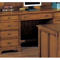 Wynwood - Wynwood Halton Hills Credenza in Toasted Oak - Be productive in your home office with this traditional styled Halton Hills Credenza by Wynwood Furnitures. Perfect for setting up your computer workstation with a CPU storage cabinet and drop down, roll-out keyboard tray. Keep important files close, with the lateral file drawer and easily access office supplies stored in the other pedestal drawers. With a toasty oak finish and aged brass hardware, your office will have a sophisticated and traditional look and feel.