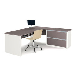 Bestar - Bestar Connexion Slate & Sandstone 71 x 83 L-Shaped Workstation Desk - The desk is made of durable 1 inch commercial grade work surface with melamine finish that resist scratches stains and wears. It features an impact resistant 0.25 cm PVC edge. Grommets are available on the station for efficient wire management. The oversized pedestal is assembled to facilitate assembly and offers two file drawers with letter/legal filing system. The drawers are on ball-bearing slides and the keyboard drawer features double-extension slides for a smooth and quiet operation. The workstation meets or exceeds ANSI/BIFMA performance standards and is fully reversible. Also available in Bordeaux and Slate finish. Connexion is a contemporary and durable collection that features a wide variety of configuration options that will adapt to your specific needs.Nowadays performance productivity and quality of life are fundamental to achieving our personal and professional goals. Bestar's home and office furniture design is based upon these criteria as well as on today's reality. On average we spend about 40 hours a week at work (home or office) which represents a large portion of our time. Various factors have a direct impact on our well-being at work: an important concern in the current employment environment continually changing and at an ever-increasing pace. Therefore organizing your space is certainly a parameter to consider. Features include Strong and large work surface Plenty of room to organize your documents Multiple configuration options. Specifications Finish/color: Slate & Sandstone.