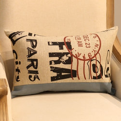 Eiffel Tower Letter Post Card Throw Pillow Cover Vintage - Size: L50*W30cm