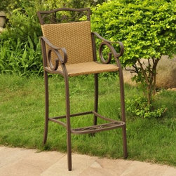 Valencia Bar Height Wicker Resin Patio Chair - Set of 2 - The Valencia Bar Height Wicker Resin Patio Chair - Set of 2 makes a great addition to any outdoor patio or sunroom with its European-inspired style. The set of chairs won't take you all the way to Spain, but they will help you relax like you're on vacation with durable steel construction and a pecan wicker finish. Dimensions: 17.5L x 21.5W x 49H inches. Please note: This item is not intended for commercial use. Warranty applies to residential use only.