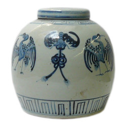 Golden Lotus - Chinese Blue White Porcelain Large Ginger Jar Hcs601-10 - This is a decorative piece and collected from different places, the color and details varies from one to one. The bottom mark is different. But overall the design is almost the same.
