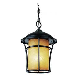 Joshua Marshal - One Light Weathered Bronze Amber   Glass Hanging Lantern - One Light Weathered Bronze Amber   Glass Hanging Lantern
