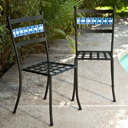 Coral Coast Marina Mosaic Bistro Chairs - Set of 2 - When you pair the Marina Mosaic Bistro Table with a pair of Coral Coast Marina Mosaic Bistro Chairs, you'll add a cool, casual feel to any setting. Hand-laid tiles in shades of aqua and blue give a unique look to the backrest, while enhancing the beauty of black powder-coated, rust-resistant iron frame. Not to be outdone in comfort, the lattice seats will envelope you and a friend in luxury all through your meals. Though this set of chairs is designed primarily for outdoor use, it also makes a perfect addition to your kitchen corner. This set of chairs is virtually maintenance-free - simply hose off to clean and wipe dry with soft cloth. We recommend storing this set indoors or in a garden shed or garage to prolong life because grout will expand and crack if left out in freezing conditions. Do not use harsh chemicals. While bistro chairs of this quality usually sell for more than twice the price at specialty stores, we offer the same hand-crafted quality and fun, fresh mosaic pattern at a fabulous price, so you can make the most of your summer without spending a bundle! Please note: Each piece is hand-crafted and might vary slightly from the design seen in the images.About Coral Coast What if, when you closed your eyes, you pictured yourself in your own backyard? Coral Coast has a collection of easygoing, affordable outdoor accessories for your patio, pool, or backyard. The latest colors and styles mingle with true classics in weather-worthy fabrics and finished woods, ready for relaxation. Make yours a life of leisure.