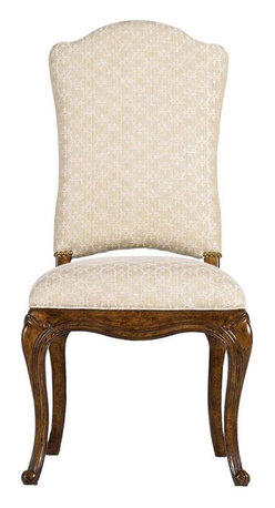 Stanley Furniture - Arrondissement-Volute Side Chair - An antique brass nailhead trim coordinates beautifully with the repeating scroll design of the Monarque fabric on the Volute Side Chair. This regal design features an upholstered back and seat for the ultimate in dining comfort.